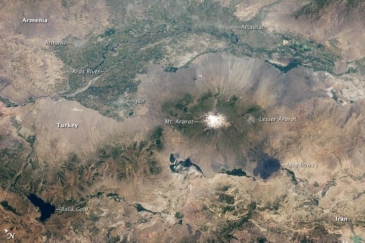 Ağrı Dağının Uzaydan çekilmiş görüntüsü